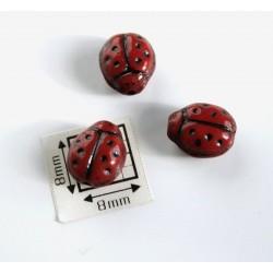 Margele sticla Cehia forma gargarita 9.60 x 7.20 x 6.80 mm culoare rosu opac cu negru (1 buc).