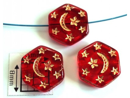 Margele sticla Cehia forma hexagon cca 12 x 3.50 mm culoare rosu transparent gravat model auriu (4 buc).