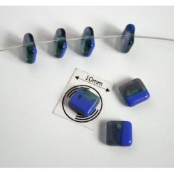 Margele sticla Cehia forma patrat 6.30 x 2.50 mm culoare mozaic albastru/verde (10 buc).