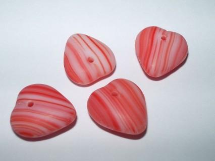 Margele sticla Cehia inima 11 x 12 x 5 mm culoare rosu/roz (2 buc).
