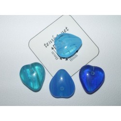 Margele sticla Cehia inima 11 x 12 x 5 mm mix nuante de albastru (10 buc).
