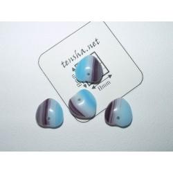 Margele sticla Cehia inima 9 x 8 x 4 mm culoare albastru/maro/alb (10 buc).