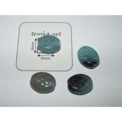 Margele sticla Cehia oval 10.3 x 8.5 x 4.6 mm cu un trifoi gravat culoare verde/maro(10 buc).