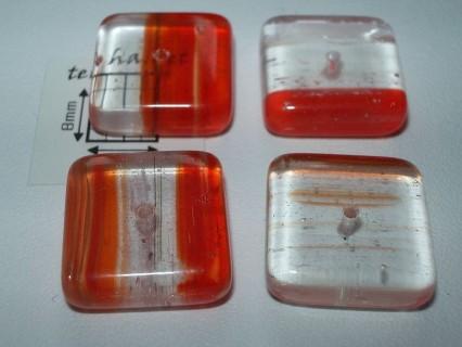 Margele sticla Cehia patrat 16 x 16 x 5 mm culoare rosu deschis/cristal clar(1 buc)