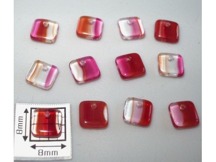 Margele sticla Cehia patrat 6.40 x 2.40 mm culoare mozaic (10 buc).