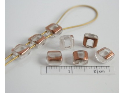 Margele sticla Cehia silky arc cca 6.30 x 6.30 x 3.60 mm culoare cristal /partial bronz (10 buc).