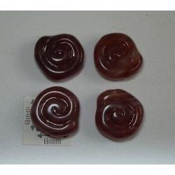Margele sticla Cehia spirala maro opac 12 mm (2 buc).