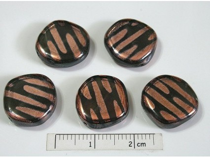 Margele sticla presata Cehia disc (forma aproximativ rotunda) 14.60 x 4.50 mm culoare maro/bronz (1 buc).