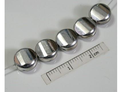 Margele sticla presata Cehia disc 9.60 x 5 mm culoare argintiu (2 buc).
