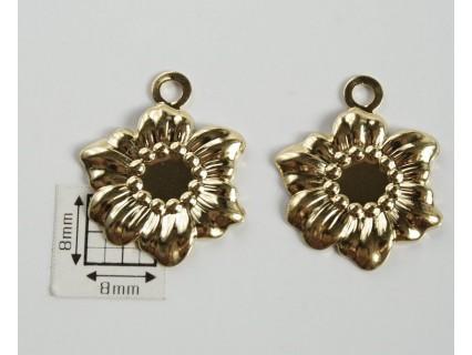 Charm alama placata cu aur floarea soarelui 22x18 mm (1 buc).