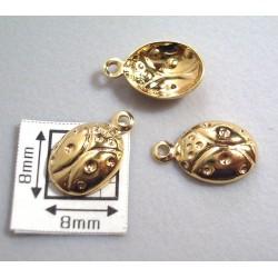 Charm alama placata cu aur gargarita 11.5x7 mm (4 buc).