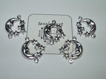 Charm alama placata cu argint element de legatura luna cu stele 11 mm (1 buc).