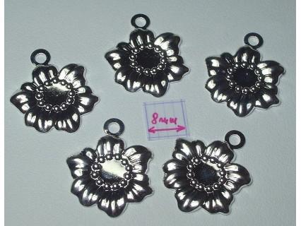 Charm alama placata cu argint forma floarea soarelui 19x18 mm (1 buc).