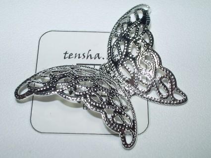 Charm alama placata cu argint fluture filigran 26 mm (1 buc).