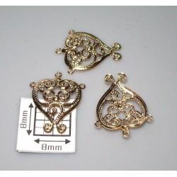 Drop alama placata cu aur inima filigran cu spirala 15 x 13 mm (2 buc).