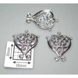 Drop alama placata cu argint inima filigran cu spirala 15 x 13 mm (2 buc).