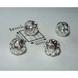 Margele metalice alama placata cu argint 6 mm model filigran(4 buc).
