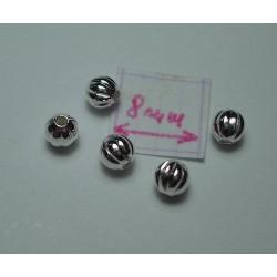 Margele metalice alama placata cu argint rotunde cu model 3 mm(10 buc).