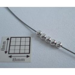 Margele metalice rotunde cu striatii 2.5 mm alama placata cu argint (10 buc).