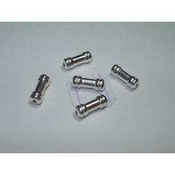 Margele metalice alama placata cu argint tub 3.3x9 mm (4 buc).