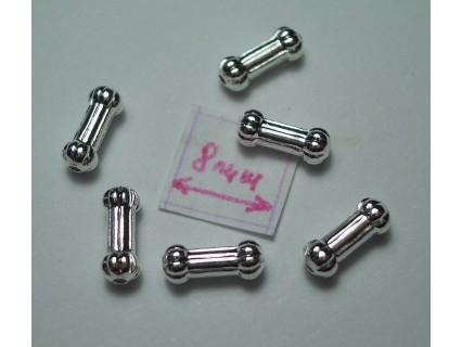 Margele metalice tubulare cu striatii 7x3 mm alama placata cu argint (4 buc).