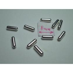 Margele metalice alama placata cu argint tubulare 6.5x2 mm (10 buc).