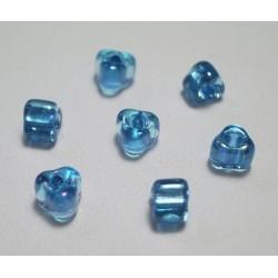 Margele sticla Miyuki triunghi 5/0, culoare int. aqua, culoare ext. albastru deschis, 5g