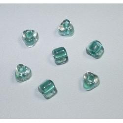 Margele sticla Miyuki triunghi 5/0, culoare int. aqua, culoare ext. cristal clar, 5g