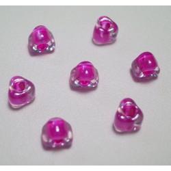 Margele sticla Miyuki triunghi 5/0, culoare int. fucsia, culoare ext. cristal clar, 5g