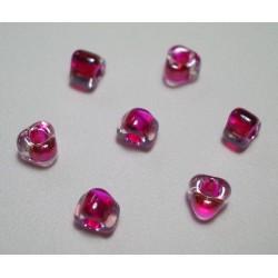 Margele sticla Miyuki triunghi 5/0, culoare int. rosu zmeura, culoare ext. cristal clar, 5g