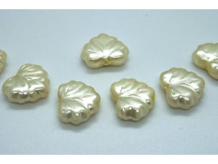 FR56 - margele frunza, crem perla ,4 buc