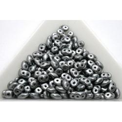 Superduo /- margele sticla Cehia forma superduo 2.5 x 3 x 5 mm culoare pearl coat silver (5 gr) T134