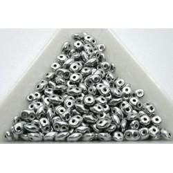 Superduo /- margele sticla Cehia forma superduo 2.5 x 3 x 5 mm culoare matte metalic silver (5 gr) T135