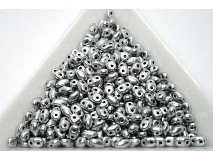 MiniDuo /- margele sticla Cehia forma miniDuo 2.5 x 3 x 4 mm culoare matte metalic silver (5 gr) T136