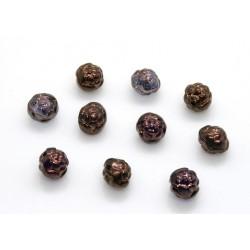 Margele sticla Cehia forma boboc de trandafir cca 7 mm culoare cristal vega (10 buc) .FL-43.