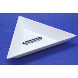 Tavita triunghiulara alba, din plastic, pentru sortat margelute (1 bucata )