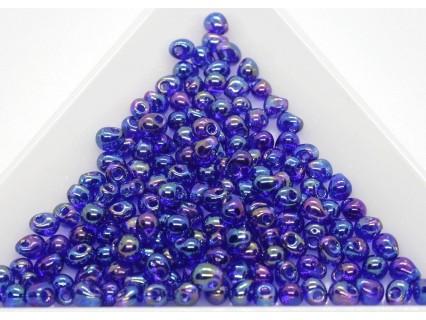 DP177 - margele Miyuki Drop 3.4mm, Trans Cobalt Blue AB, 5g