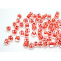 Margele sticla Miyuki triunghi 5/0, culoare int. coral, culoare ext. cristal clar, 5g