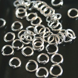 Zr11 zale 4.3mm rotunde deschise, otel 0.7mm, argintii, 3.8g (cca 100 buc)