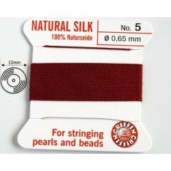 silk05.07 Fir matase naturala cu ac atasat, grosime 0.65mm (no.5), granat, 2 metri