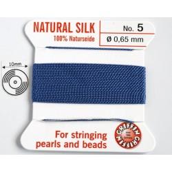 silk05.10 Fir matase naturala cu ac atasat, grosime 0.65mm (no.5), albastru, 2 metri