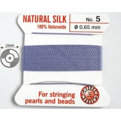 silk05.12 Fir matase naturala cu ac atasat, grosime 0.65mm (no.5), lila, 2 metri