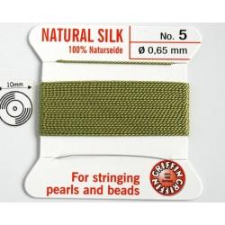 silk05.15 Fir matase naturala cu ac atasat, grosime 0.65mm (no.5), verde jad, 2 metri