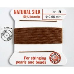 silk05.18 Fir matase naturala cu ac atasat, grosime 0.65mm (no.5), carnelian, 2 metri