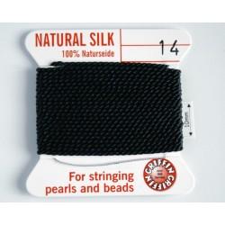 silk14.02 Fir matase naturala cu ac atasat, grosime 1.02mm (no.14), negru, 2 metri