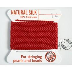 silk14.06 Fir matase naturala cu ac atasat, grosime 1.02mm (no.14), rosu, 2 metri