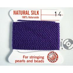 silk14.13 Fir matase naturala cu ac atasat, grosime 1.02mm (no.14), ametist, 2 metri
