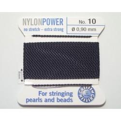np10-02 black - fir nylon grosime 0.90mm cu ac atasat, 2 metri, negru ( 1 bucata )