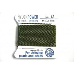 np12-17 olive - fir nylon nr.12, grosime 0.98mm, cu ac atasat ( 2m, pe cartonas )