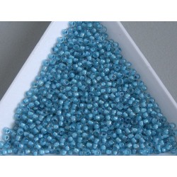 Toho R11-183, Inside-Color Luster Crystal/Opaque Aqua Lined, 10g